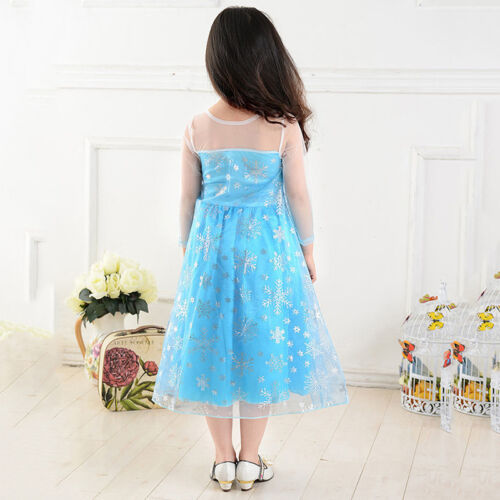 Frozen Elsa Costume Fancy Dress Up Party Girls Dress Cosplay Carnival Costume