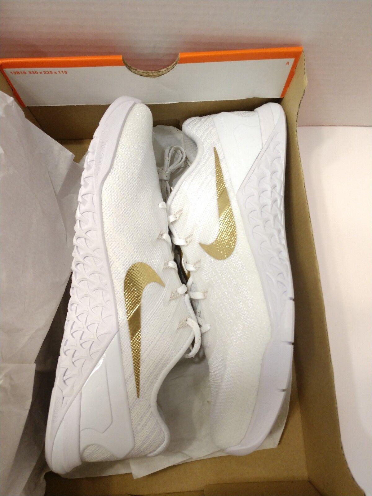 Nike Metcon 3 AMP Training Running CrossFit Shoes Women's 11 White Metallic Gold