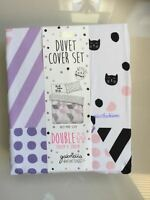Gabriella Kitty Cats Print Double Bed Duvet Cover Set Cute Velvet Ghost Primark