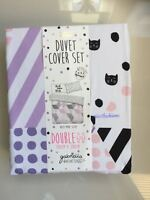 Gabriella Kitty Cats Print Double Bed Duvet Cover Set Cute Velvet Ghost Primark