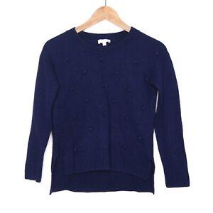 Witchery Womens Navy Pom Pom Jumper Size XXS Cotton, Wool, Silk Blend