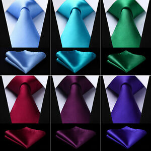 Classic-Solid-color-Plain-Men-039-s-Silk-Necktie-Pocket-Square-Set-Classic-Ties-MTL1
