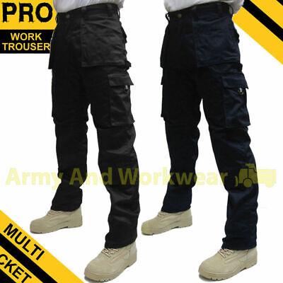 Mens Lavoro Pantaloni Workwear MULTITASCA workmans PRO PANTS Tripe cucito PANTS