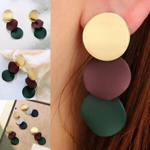 Fashion-Womens-Ladies-Round-Dangle-Long-Ear-Stud-Drop-Earrings-Jewellery-Gifts