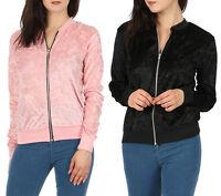 Womens Black Pink Crushed Velvet Bomber Biker Evening Party Jacket Velour Top BN