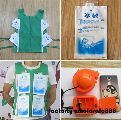 Mini Fan Mascot Costume For Head Cooling Vest With 8 Ice Bag Green Xmas Dress
