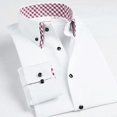 British double collar style fine clipping elegant men's long sleeve shirt uy535c