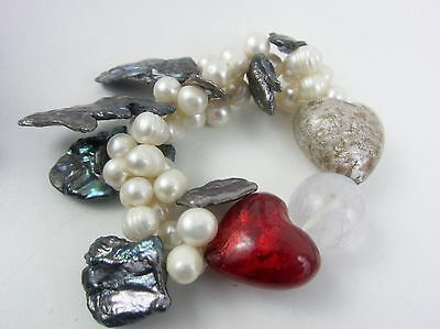 Cultured Pearl 2-Strand Stretch Bracelet Glass Hearts Valentine Abalone Artist