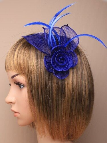 Ladies Elegant Royal Blue sinamay and Feather Fascinator on Clip
