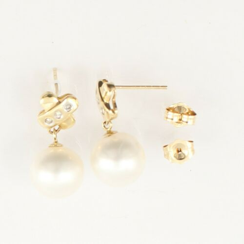 Details about  /14k Yellow Gold X Design Diamonds /& White Round Pearl Dangle Earring TPJ