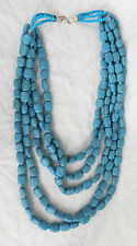 Chunky Turquoise Five Strand Hand Made Ceramic Bead Necklace - BNWT