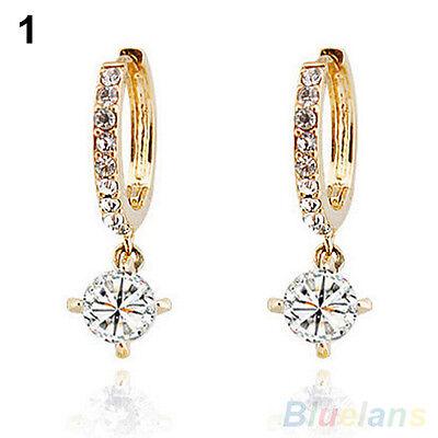 Womens Charismatic Austrian Zircon Crystal Rhinestone Stud Drop Earrings Jewelry