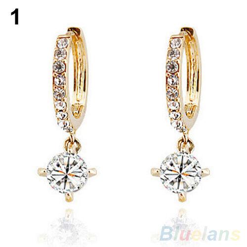 Women Hot Stunning Austrian Zircon Crystal Rhinestone Shining Stud Drop Earrings