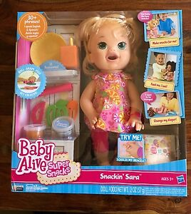 New Baby Alive Super Snacks Snackin Sara Blonde Ebay