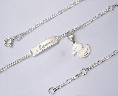 Wunsch Name Gravur Ident Armband Babyarmkette Babyarmband Taufe Echt Silber 925