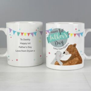personalised 1st father s day daddy bear mug dads first fathers day