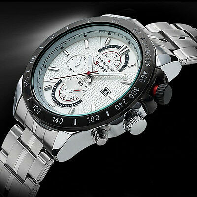 CURREN Brand Auto Calender Stainless Steel Band Business Casual Watch For Men