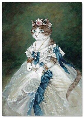 Victorian Cat Lady Noblewoman White Dress By Susan Herbert New Modern Postcard Ebay
