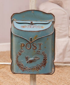 Antique Vintage Style Bird Mailbox Letter Wall French Country Blue
