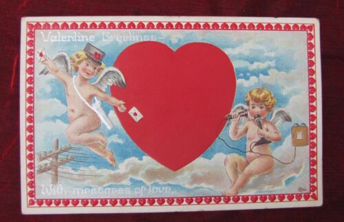 1905 Cupid Mailman & Old TelephoneAMAZING VALENTINE'S DAY PostcardAntique vtg