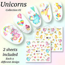 2x Unicorn Nails Water Decals Transfers Stickers Cute Cupcakes Hearts Star A1249