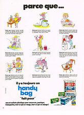 PUBLICITE ADVERTISING 054  1973   HANDY BAG sacs sachets plastique