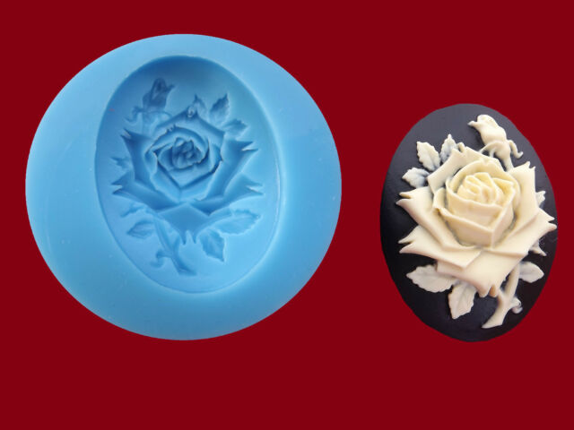 Rose Cameo Silicone Mould (L), Sugarcraft, Cake Toppers, Jewellery, Food Safe