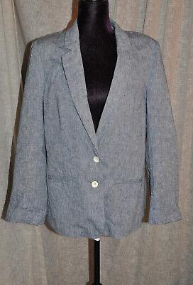 * Cartonnier * (anthropologie) Blu Cotone Blazer (uk 12)-) Blue Cotton Blazer (uk 12) It-it Mostra Il Titolo Originale Vivace E Grande Nello Stile