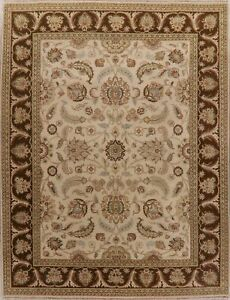 Floral-Oriental-Oushak-Area-Rug-Ivory-Wool-Hand-Knotted-Traditional-Carpet-9x12