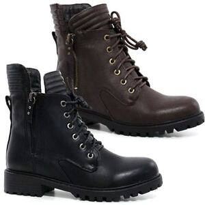 Womens-Combat-Style-Army-Worker-Military-Ankle-Boots-Chunky-Punk-Goth-Shoes-Size