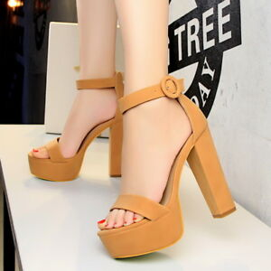 Details about Women Platform Sandals Ankle Straps Strappy Open Toe High Heels Ladies Shoes