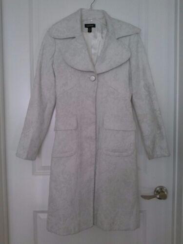 Bebe White Shimmery Trench Coat XS