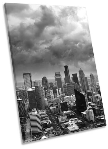 Seattle City Skyline Washington Framed CANVAS WALL ART Picture Print
