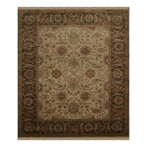 """8'1"""" x 10' Hand Knotted 100% Wool Agra Oriental Area Rug Beige Traditional"""