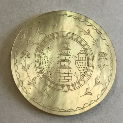 1 X Antique Mother Of Pearl Chinese Gaming Counter Round Pagoda Design
