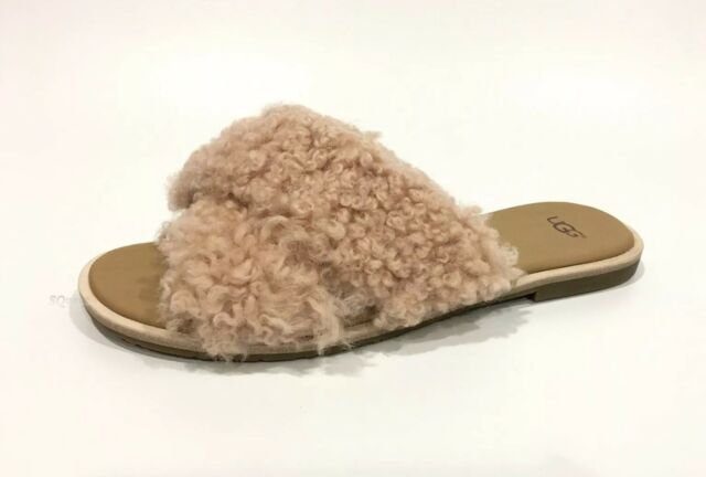 b1d84706457 UGG Joni Slide Sandals Suntan Pink Curly Sheepskin -us Size 9 -new