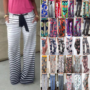 b763696e2d Image is loading LADIES-FLORAL-YOGA-PALAZZO-TROUSERS-WOMENS-LOOSE-SUMMER-