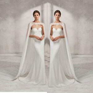 Wedding-Bridal-Long-Cloak-White-Ivory-Bridal-Dress-Cape-Lace-Edge-Wraps-Jacket