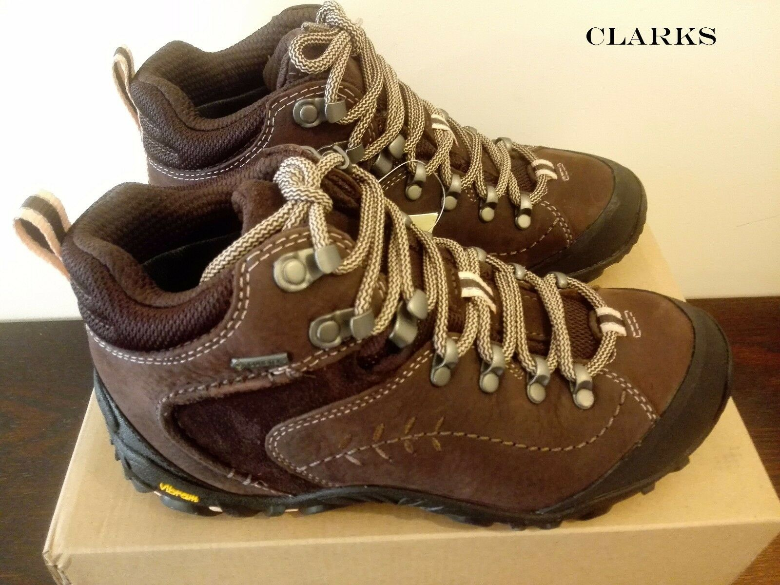 CLARKS Ignify Mid GTX Dark Brown Leather Women's HIKING Boots RRP