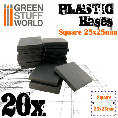 20x Quadratische Kunststoffbasen 25x25mm Modellbau Hobby Scenery Wargames 40k