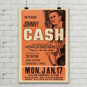 503c9517c Image is loading Johnny-Cash-Concert-Poster-Canvas-Art-Print-Vintage-