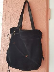 Image Is Loading Lucky Brand Black Suede Leather Hobo Handbag Tote