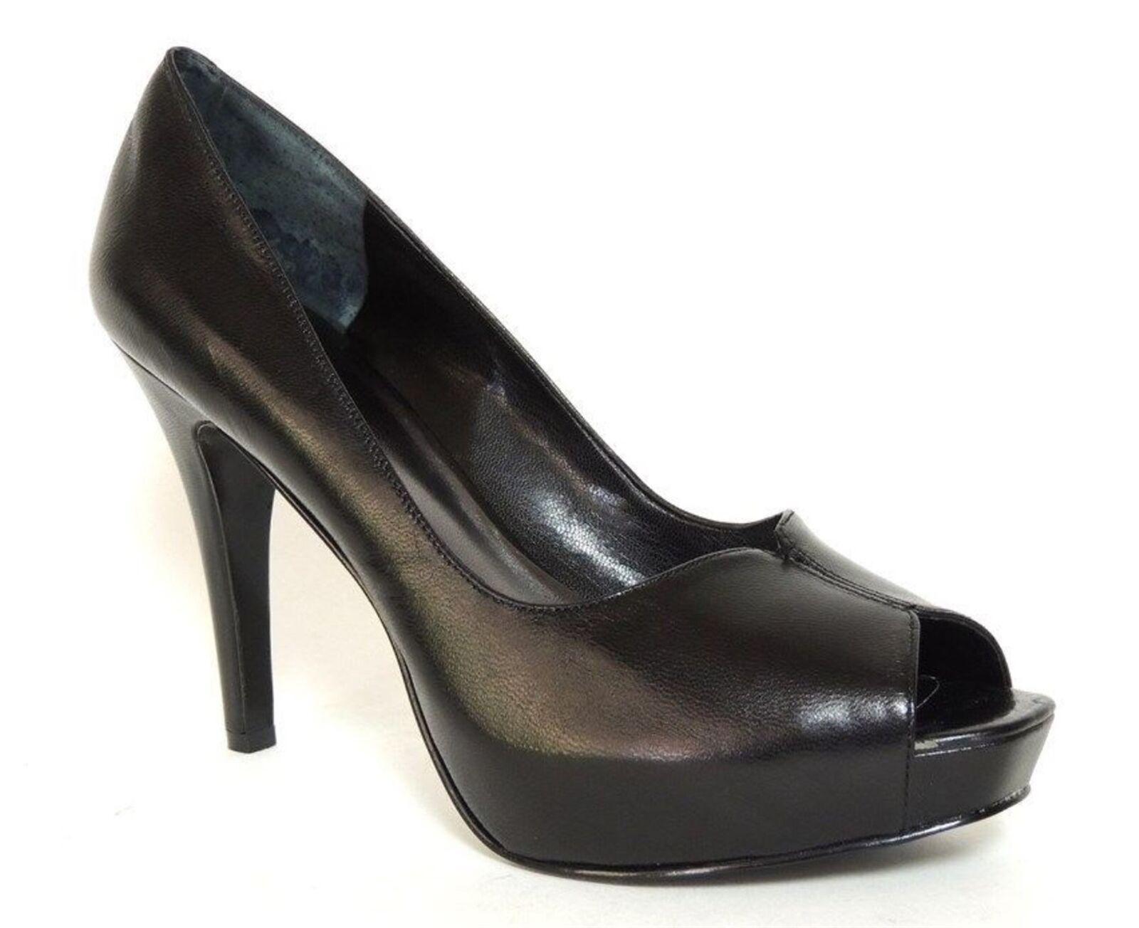 Nine West Women's Bonfire Peep-Toe Pumps Black Leather Size 10 M