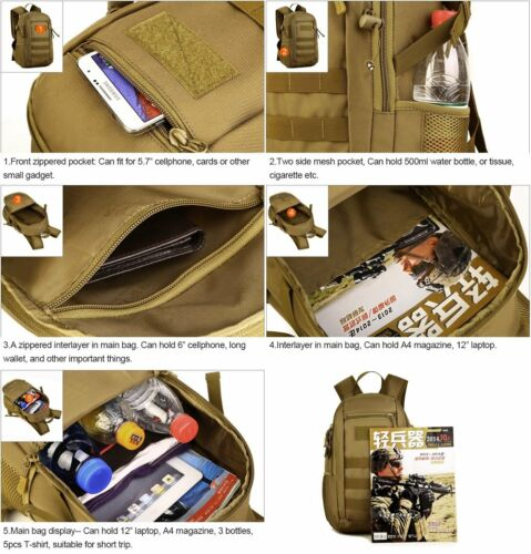 12L Small Daypack Military Black Backpack Rucksack Travel Camping Tactical Bags