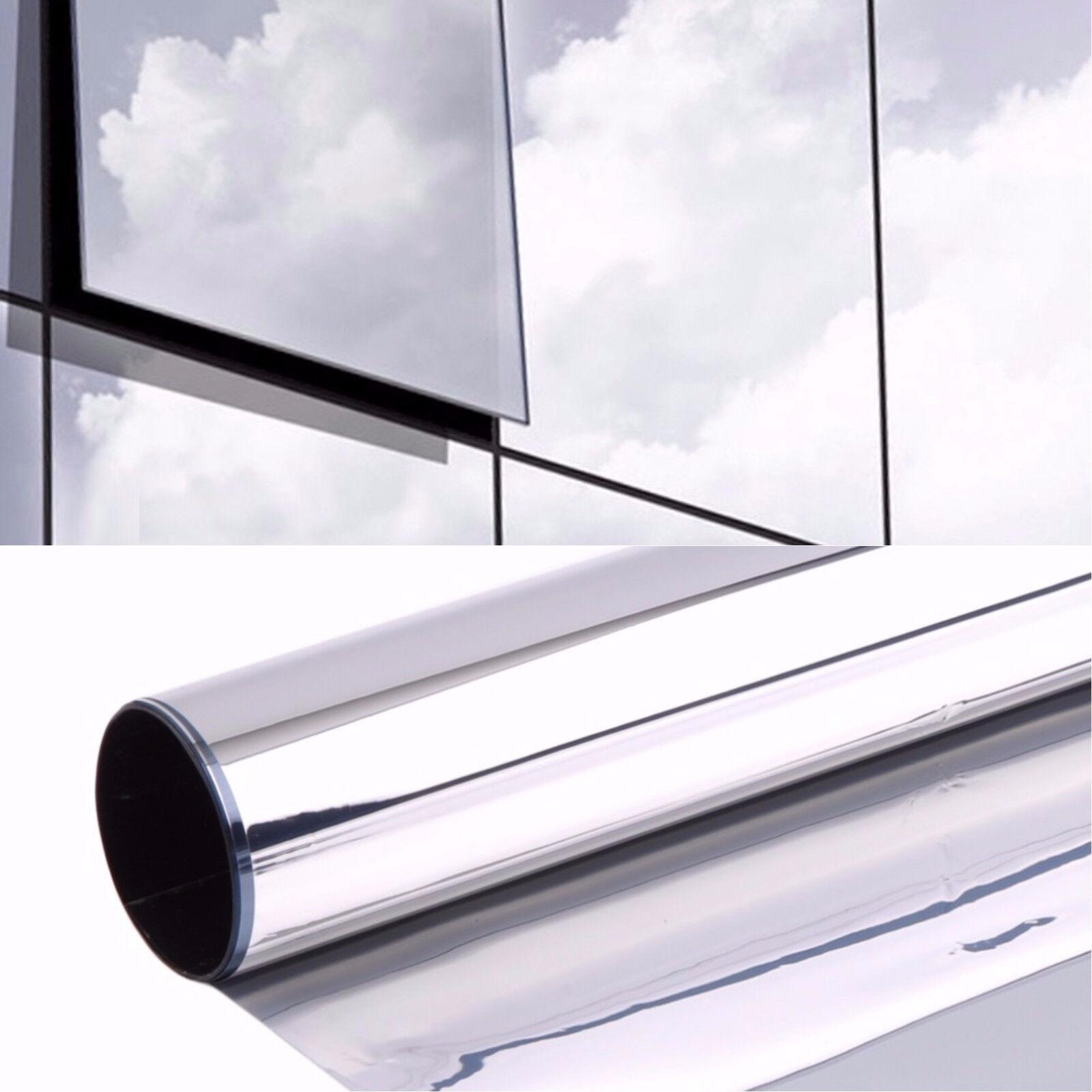 m² Spiegelfolie Silber Fensterfolie Sichtschutzfolie Sonnenschutz Folie