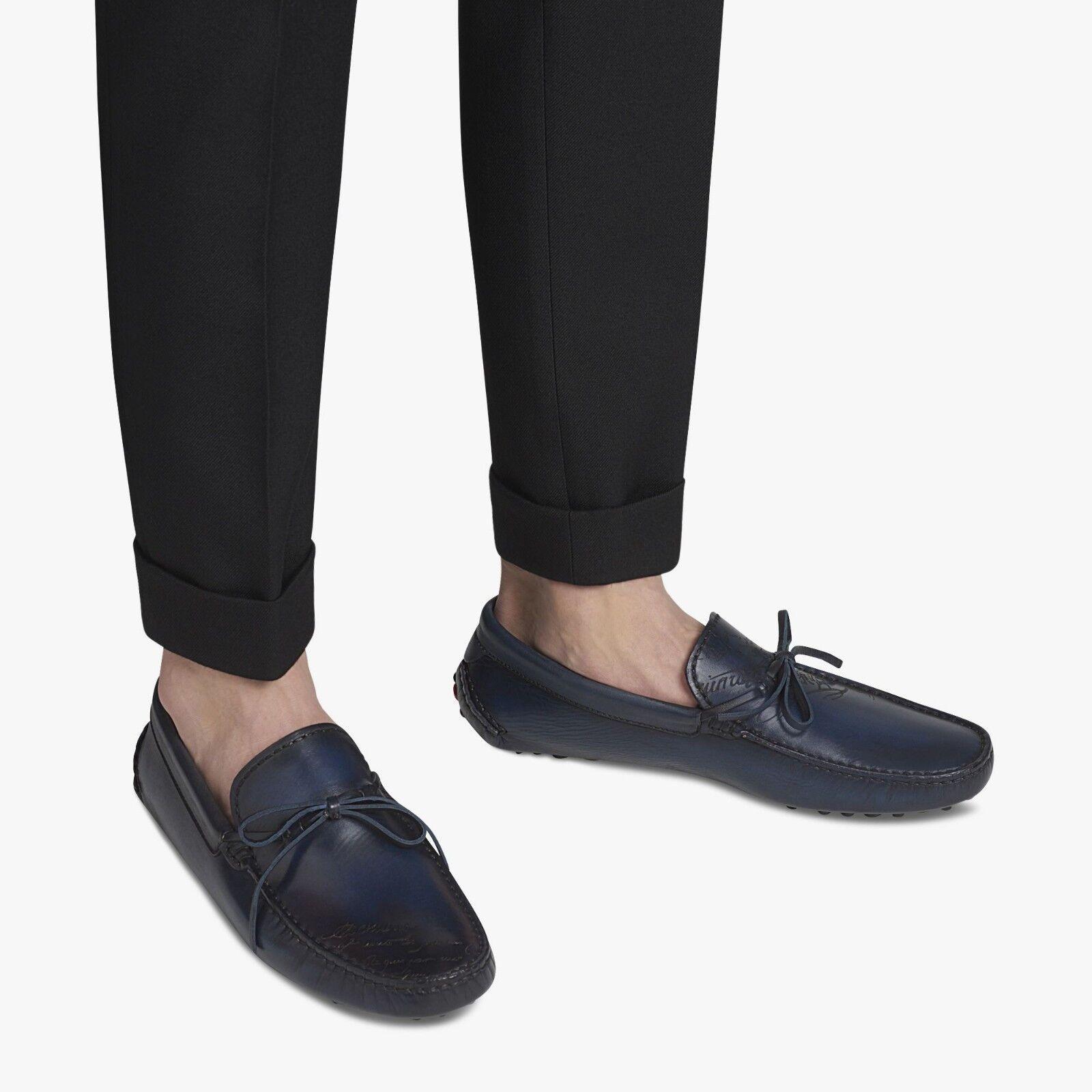 Authentic New Berluti Enzo Lunare Engraved Calf Leather Venezia Scritto Loafer