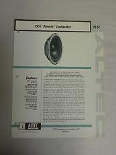Vtg Original Altec 755C Pancake Loudspeaker Speaker Specification Sheet (A3)