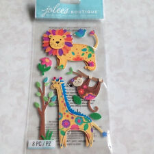 COLORFUL JUNGLE ANIMALS Jolee's STITCHED CLOTH 3D Stickers LION GIRAFFE MONKEY