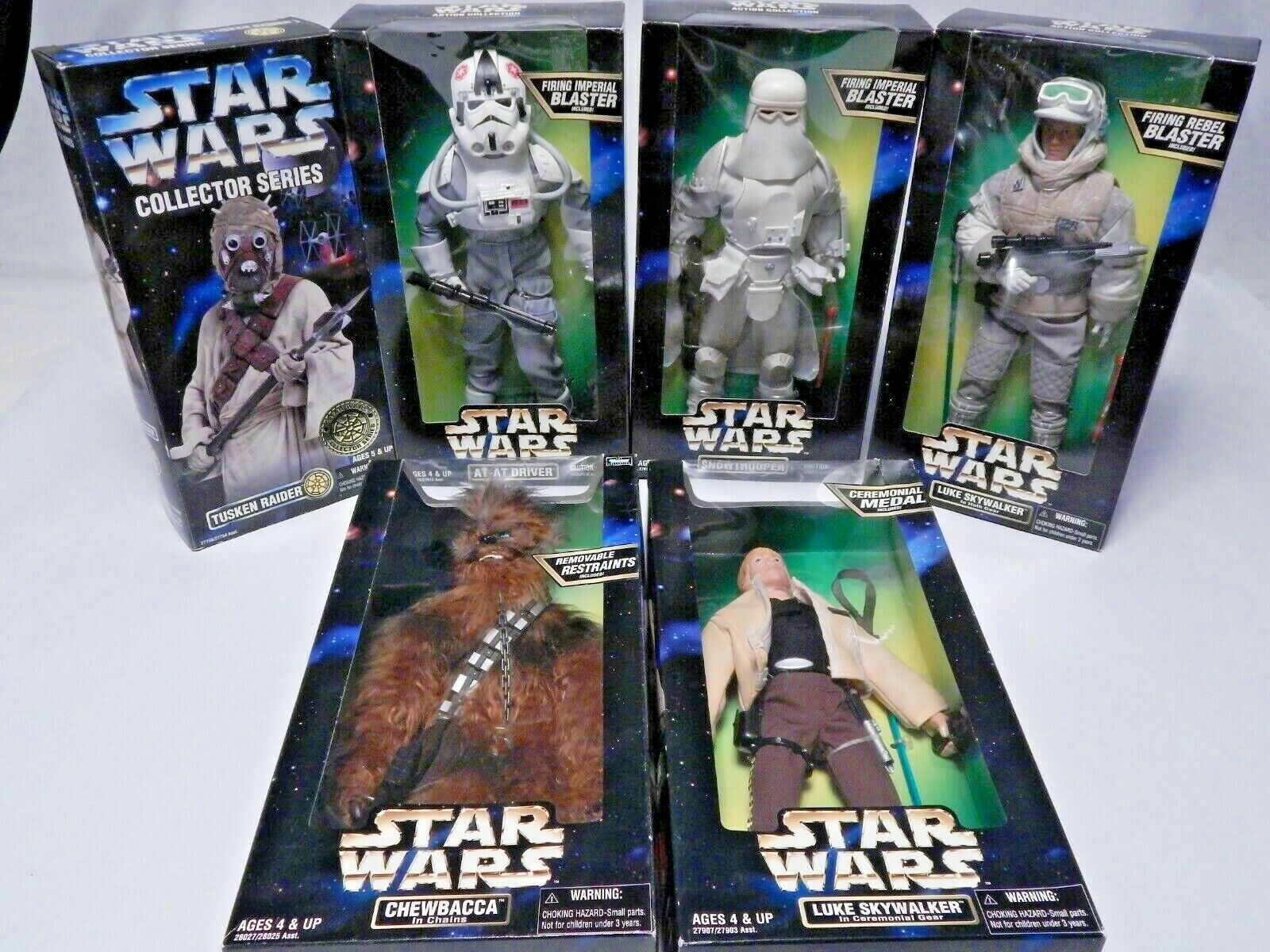 Lot of 6 Star Wars 12  Figs,Chewy,Tusken Raider,AT AT Driver,SNOWTROOPER,2 Lukes