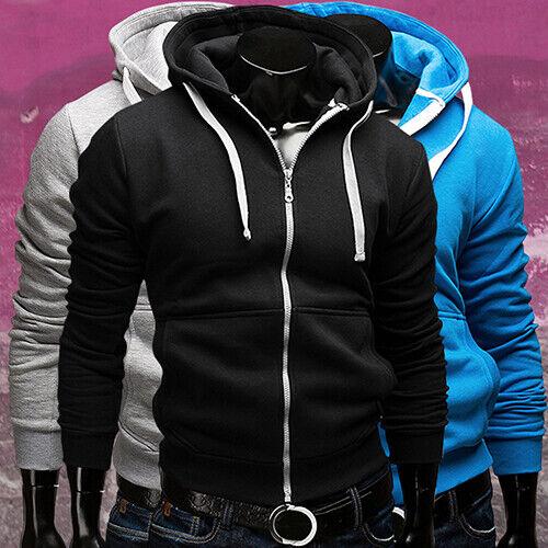 Hommes Chaud À Capuche Sweat à capuche Manteau Veste Slim Zip Outwear Pull Hiver